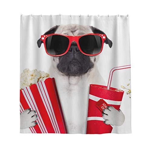 Gamoii Film Mops Hund Popcorn Cola Duschvorhang Bad Vorhänge Bedruckt Badezimmer Vorhang Wasserdicht Duschvorhänge mit Vorhanghaken White 120x200cm