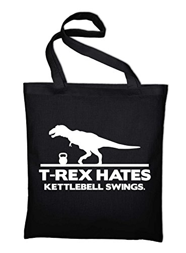 T-Rex Hates Kettlebell Swings Fun Jutebeutel Baumwolltasche, schwarz