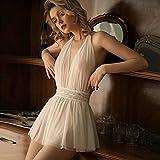 Astemdhj Camisón Sexy Pijamas Hermoso Vestido De Dormir De Gasa con Encaje En La Espalda Tentación Blanco Sexy Malla Colgante Cuello De Hada Sin Espalda Tul Camisón M Blanco
