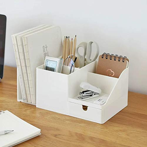Porta penna ABS Desk Office Organizer Storage Holder Desktop Pencil Pen Sundries Badge Box Stationery Office School Home Supplies Beige(big)