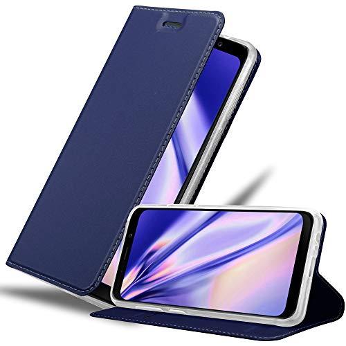 Cadorabo Hülle für Samsung Galaxy A8 2018 in Classy DUNKEL BLAU - Handyhülle mit Magnetverschluss, Standfunktion & Kartenfach - Hülle Cover Schutzhülle Etui Tasche Book Klapp Style