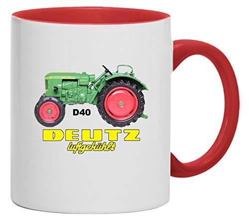 Bimaxx Schlepper Tasse | Deutz Luftgekühlt D 40 | weiß/rot