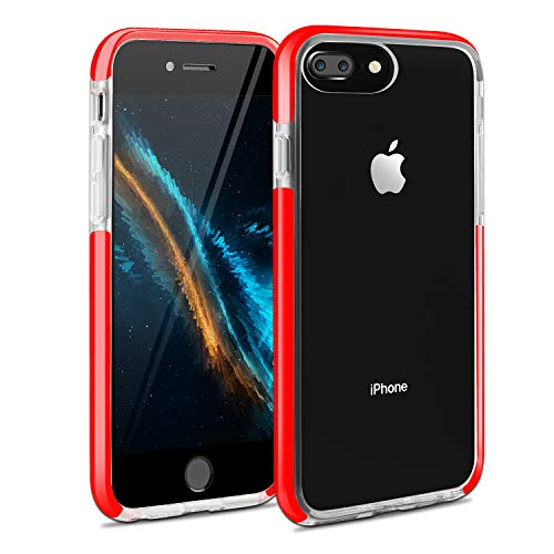 iPhone 7 Plus Case iPhone 8 Plus Case iPhone 6 Plus Case iPhone 6sPlus Case, Crystal Clear Anti-Scratch & Slippery Transparent Shockproof Cover Bumper Protective Case for IP 6P/6sP/7P/8P (Red)