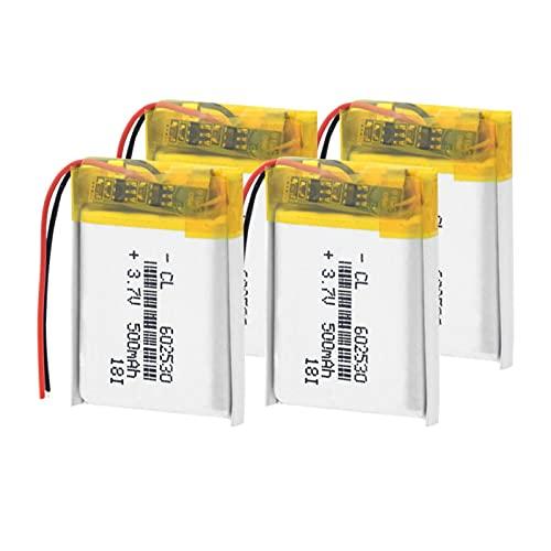 CNMMGL 3.7v 500mah 602530 Batería De PolíMero De Iones De Litio, Recargable para Mp4 Mp5 GPS PSP Reloj Inteligente Grabadora De Conducción Batería De Litio 4pieces