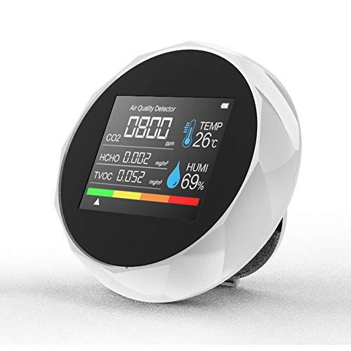Elikliv Medidor de CO2, Detector de Calidad del Aire 5-en-1 con Digital Monitor Probador de Formaldehído Dióxido de Carbono TVOC HCHO con Sensor de Humedad y de Temperatura
