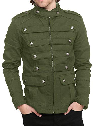Karlywindow Mens Gothic Military Jackets Casual Band Steampunk Vintage Stylish Jacket with Pockets (X-Large, Green)