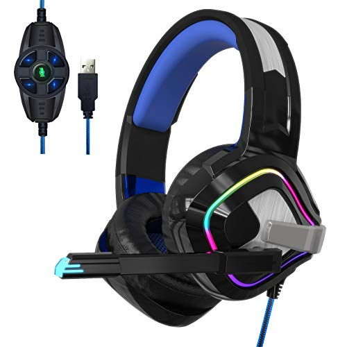 TopACE PC PS4 PS5 Switch用の7.1chゲーミングヘッドセット USB有線 高音質 LED マイク付き FPS ヘッドホン ノイズキャンセリング ヘッドセット 重低音強化 騒音抑制 伸縮可能 男女兼用