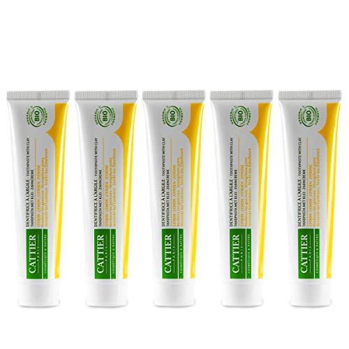 CATTIER PARIS bio-citroen tandcrème met geneeskrachtige aarde (5 x 75 ml), aangenaam milde biologische tandpasta, citroensmaak, regenereraliserend, veganistisch, fluoridevrij, sulfaatvrij, natuurlijke cosmetica, homöopathievriendelijk