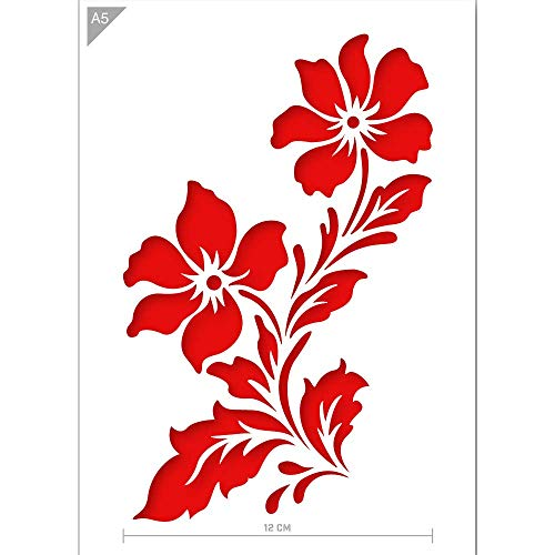 QBIX Plantilla de flores - Plantilla de flores silvestres - Plantilla de dos flores - Tamaño A5 - Plantilla reutilizable amigable para niños DIY para pintar, hornear, manualidades, paredes, muebles