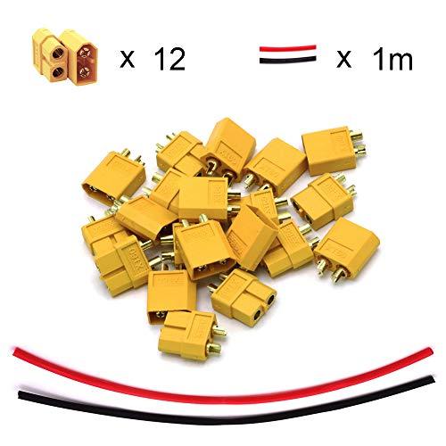 YIXISI XT60 Male Female Bullet Connectors Plugs, XT-60, para RC Coche/Barco/LiPo Batería (12 Pairs)