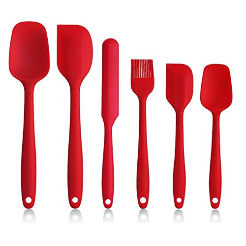 Set di 6 Spatole in Silicone per Cucina, Spatole in Silicone Antiaderente ad alta Resistenza al Calore BPA Set per Cottura, Cottura e Miscelazione, con Robusto Design in Acciaio Inossidabile. (rosso)
