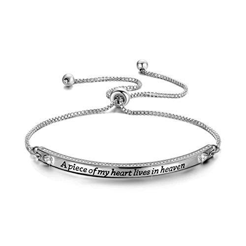 CENWA Memorial Bracelet Jewelry Sympathy Gift A Piece of My Heart Lives in Heaven Zircon Bracelet Loss Jewelry Gift (a piece of br S)