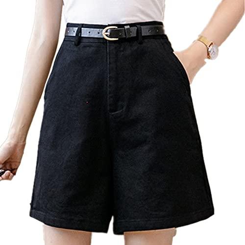 Color Casual Pierna Ancha Pantalones Cortos para Mujeres Cintura Pantalones Cortos de Verano Rodilla