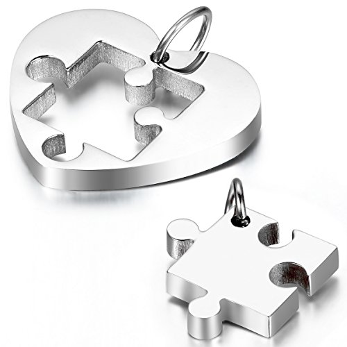 Cupimatch 2-Pieces Couples Necklace Stainless Steel Love Heart Puzzle Matching Pendant with Chain