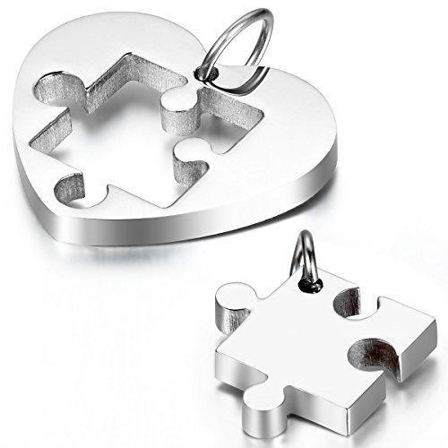 Cupimatch Collar Mujer Corazón Puzzle Rompecabezas Juego de 2 Pcs Collar Parejas Acero Inoxidable Regalo Amor Suerte Plateado (Plateado)