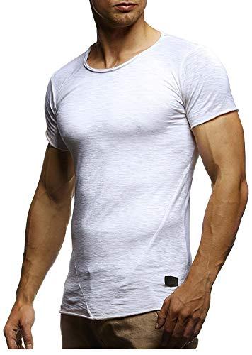 Leif Nelson Herren Sommer T-Shirt Rundhals-Ausschnitt Slim Fit Baumwolle-Anteil Moderner Männer T-Shirt Crew Neck Hoodie-Sweatshirt Kurzarm lang LN6281-1 Verw. Weiss X-Large
