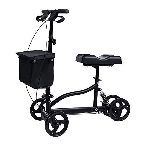 windaze Knee Scooter Steerable Leg Walker Foldable with Brake Alternative to Crutch Medical Rolling car for Leg Injury, Black