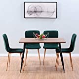 GOLDFAN Dining Table and Chairs Set 4 Wood Style Rectangular Kitchen Table and Velvet Chairs Dining Room Set,120CM (Brown and Green)