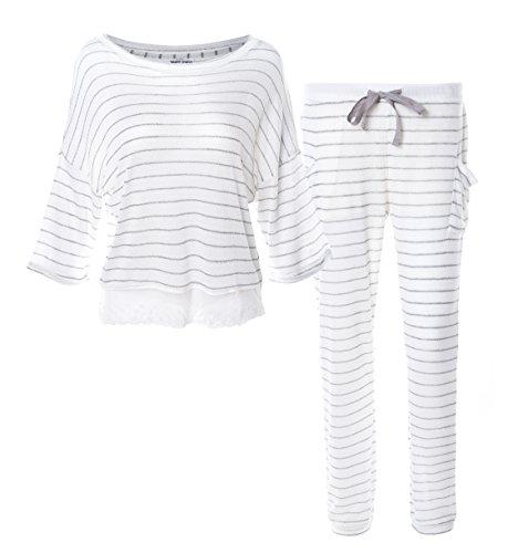 Matt Viggo Set Pijama para Mujeres Encaje a Rayas Ropa para la Casa Mangas Cortas 3/4 de Largo Ligero
