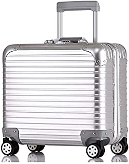 JXSHQS 17-inch All-Aluminum-Magnesium Alloy Boarding Crash-Resistant Luggage Lightweight Mini Caster Trolley Case D42 All Aluminum Trolley case (Color : Silver, Size : 17 inches)
