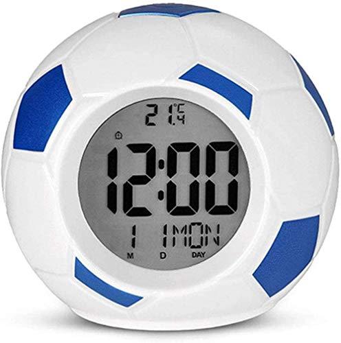 zaizai Digitaler Wecker, Fußball LED LED Uhr Nachtlicht, Tischuhren mit Schlummerfunktion und Temperaturanzeige, für Schlafzimmer Büroküche,