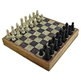 mysticalindia Handmade Wooden Marble Chess Game And Board Set Unique Pieces, (6 Inches x 6 Inches)