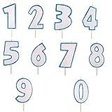 Vela de cumpleaños – Número 0 – azul claro – Vela con purpurina – Vela numérica pastel Modecor