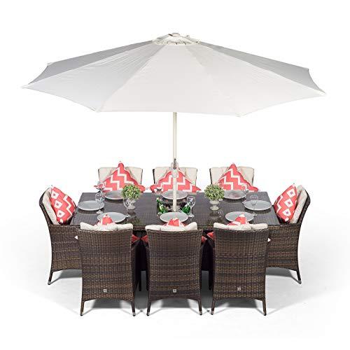 Savannah Rattan Gartenmöbel Set für 8 Personen Braun | Rechteckige Polyrattan Sitzgruppe mit Tisch, Getränkekühler und Sonnenschirm | Lounge Möbel Terrasse, Balkon Möbel Set | Inklusive Abdeckung