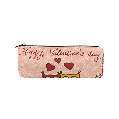 Stylo Cas Stationnaire Valentines Bande Dessinée Mignon Oiseau Hibou Couple Crayon Sacs Pochette Ronde Portable pour École Enfants Enfants Sac Cosmétique Maquillage Beauté Cas