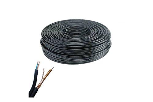 BES 20349 - Bobina Doble Cable, coaxial, 100 m, cámara de vídeo, RG 59 2C, Negro
