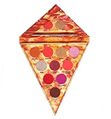 Slice pizza eyeshadow palette. 10 ultra pigmented shades. Inspired by the most delicious meat toppings such as Canadian Bacon, Salami, Chicken, Ham, Pepperoni, and Sausage. Color combination of rich reds, vibrant pinks, vivid purples and beautiful br...