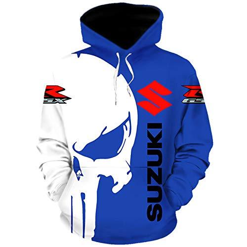 Sponybts 3D Volldruck Sweatshirt mit Kapuze, T-Shirt, Jacke, Hose, kurz, für Suzuki Punisher lässig, leicht, Sweatshirt, Sportbekleidung Ober/A1/XL