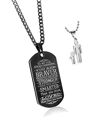 To My Son Always Remember You Are Braver Than You Believe Quotes Black Dog Tags Pendant Necklace Love Gift