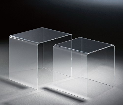 HOWE-Deko Hochwertiger Acryl-Glas Zweisatztisch, klar, 40 x 33 cm, H 36 cm und 33 x 33 cm, H 33 cm, Acryl-Glas-Stärke 6 mm