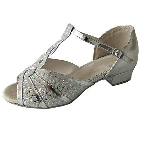 Zapatos de baile latino para mujer, con puntera abierta, salón de baile, suela suave, profesional, para interiores y sociales, plateado (Tacón plateado de 2,54 cm), 35.5 EU