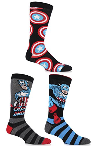 SockShop Herren 3 Paar Marvel Captain America Mix Socken aus Baumwolle 7-12 Multi