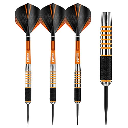 RED DRAGON Amberjack 9:Steel Dartpfeile 28 Gramm Profi Steeldarts Set, 3 x Steel Darts mit Flights und Schäfte
