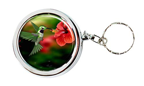 Hummingbird Cute Pocket Purse Ashtray Portable Box Stainless Steel Circular Keychain Decor Tray with Holder Case