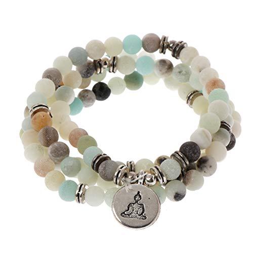 siwetg Mala Amazonite - Collar de 108 perlas para yoga, rosario budista