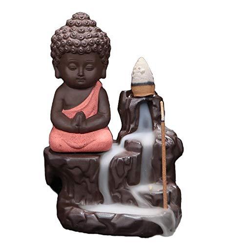 Quemador de incienso de reflujo para el hogar, quemador de incienso de reflujo de cerámica, soporte de incienso con 10 piezas de incienso de reflujo, soporte de incienso de Buda (rojo)
