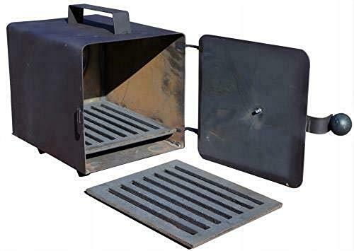 QLS Räucherei Räucherofen Feuerstelle Feuerkammer Trockenanlage mit Luftregulierung aus Gusseisen mit Offenrost 20 x 20 x 25 cm