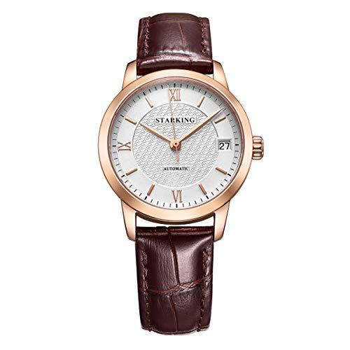 STARKING Watch Women AL0187 Burgundy Self Wind Automatic Stainless Steel Waterproof Leather Watch