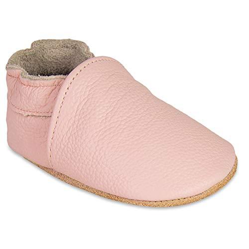 HMIYA Weiche Leder Krabbelschuhe Babyschuhe Lauflernschuhe mit Wildledersohlen für Jungen und Mädchen(0-6 Monate,Hell Pink)