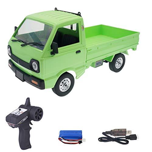 TRCS Juguete teledirigido para camión, WPL D12, 2,4 GHz, 1/10, con luz LED y motor, coche teledirigido para niños y adultos