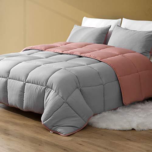 DWR All Season Reversible Down Alternative Comforter Duvet - 3pcs Ultra-Soft Air-Fluffy Breathable Eucalyptus Microfiber Comforter Set with Shams (Full/Queen, Forest Grey/Rose Red)