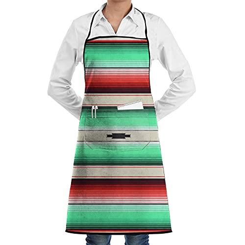 ASNIVI Delantal de cocina,Azul turquesa Navajo Rayas blancas Hilos de sarape mexicano, delantal con 2 bolsillos,Delantales para cocina casera, cocina de restaurante, cafetería, barbacoa, uso de jardín
