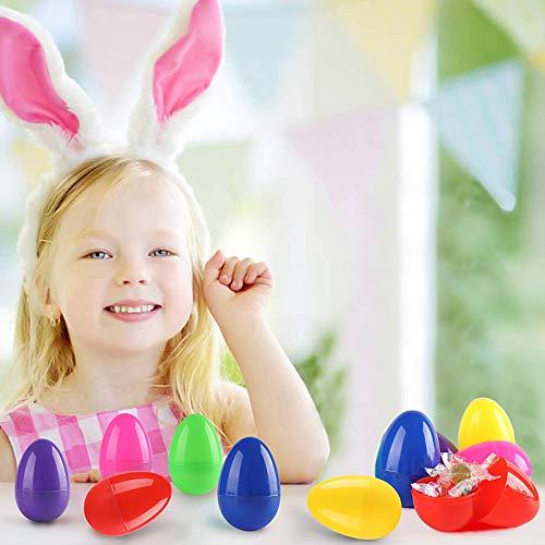 Diealles Shine 12 Pcs Huevos de Pascua de Plástico, Huevos de Pascua de Plástico Vacío Reutilizable Regalo para Llenar con Sorpresa Niños Juguete Artesanía Modelo Relleno Regalos Chocolate