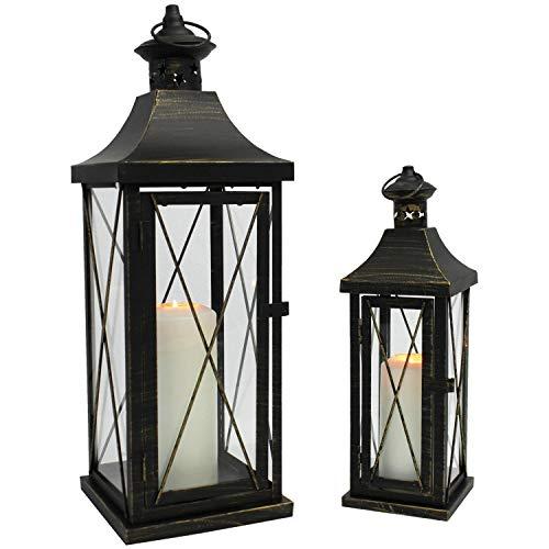 Multistore 2002 2tlg. Laternen-Set H34/50cm, Schwarz/Gold, Laterne Gartenlaterne Kerzenhalter Gartenbeleuchtung Windlicht - 2