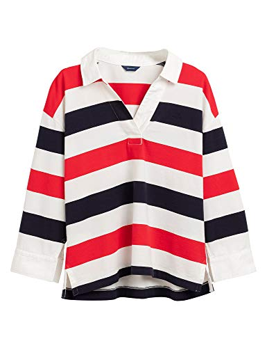GANT D1. Block Striped Heavy Rugger Camisa de Polo, Rojo Brillante, XXL para Mujer