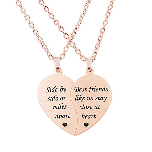 MJartoria BFF Necklace for 2-Split Valentine Heart Necklace Together Forever Never Apart Best Friends Pendant Friendship Necklace Set of 2 Gifts for Her(Z-Side By Side-rose gold)